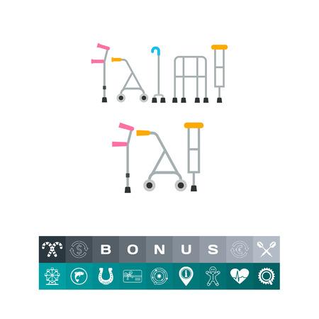 infirmity: Crutches flat icon Illustration
