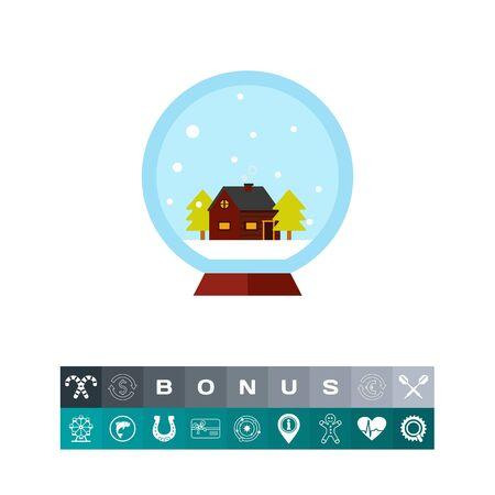 christmas tree illustration: Crystal ball with house
