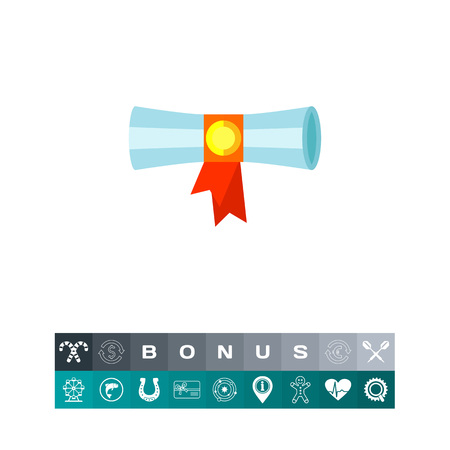 Diploma or certificate with ribbon design flat icon, isolated