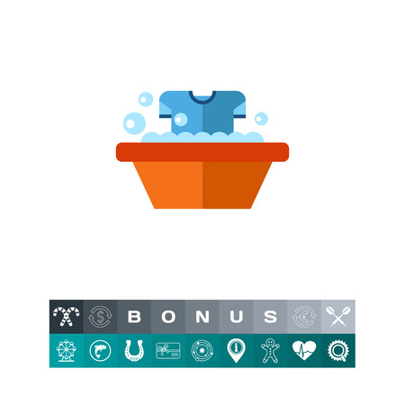 Dirty T-shirt in a Wash Basin Icon Illustration