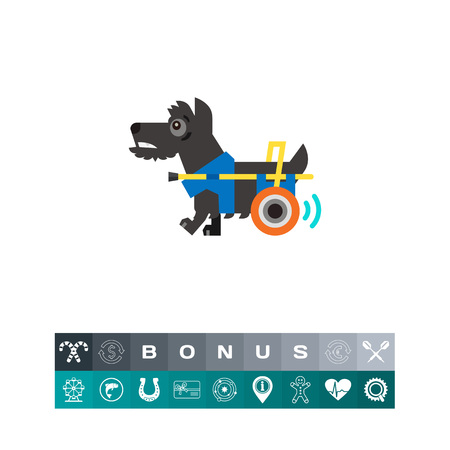 Disabled Dog with a Prosthesis and wheel Icon, isolated Illustration