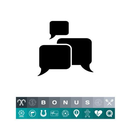 Discussion or conversation concept in bubbles silhouette design Simple Icon
