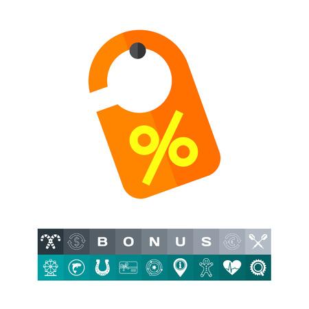 Discount Label Icon, isolated yellow orange  hanging design