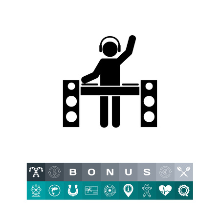 dancing club: Man with headphones at DJ Station booth Icon i black  illustration, isolated on white