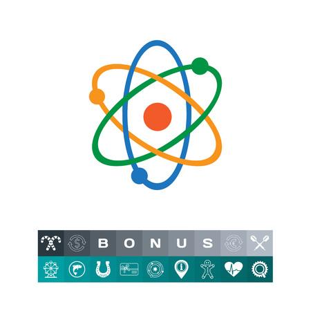Atom model icon in a colorful design illustration