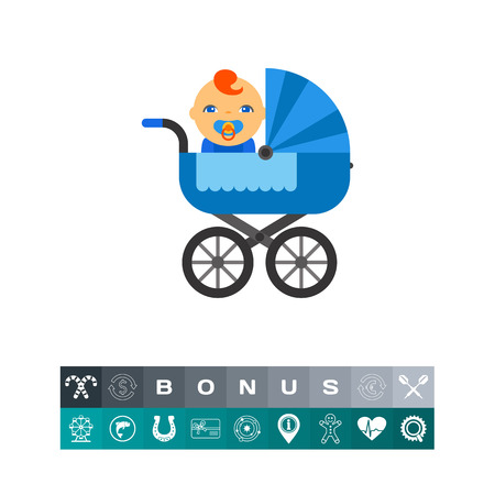 A baby inside a carriage design illustration