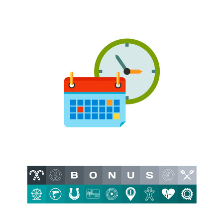 Back to School Concept Icon with Calendar and a clock Illustration