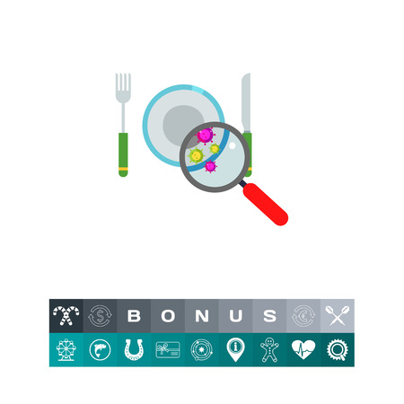 Bacteria on Plate Vector Icon with magnifying glass