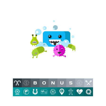 Bacteria Running from Soap Vector Icon, colorful illustration Illustration