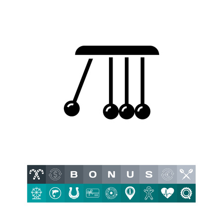 Balancing balls icon in silhouette design illustration, isolated on white