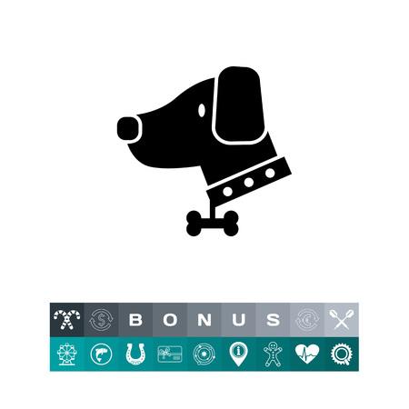 Dog wearing dog collar, silhouette design illustration