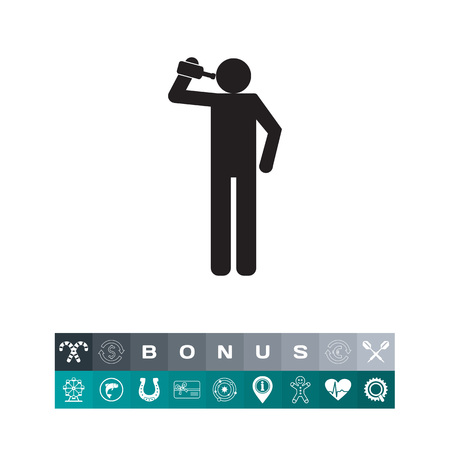 Drinking man icon, silhouette illustration isolated on white