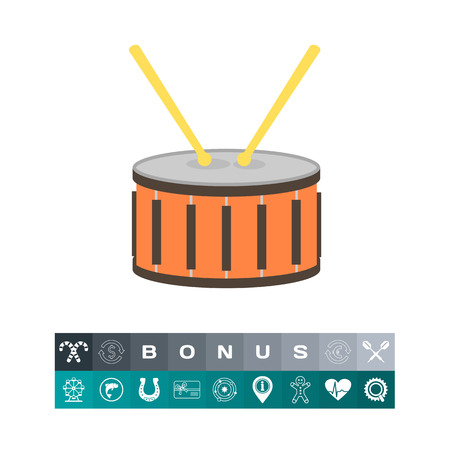 Drum with icon, a musical instrument design concept. Illustration