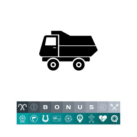 Dump truck vector icon in silhouette design illustration Illustration