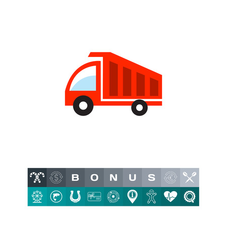 Dump truck icon on a colorful illustration,isolated on white Illustration