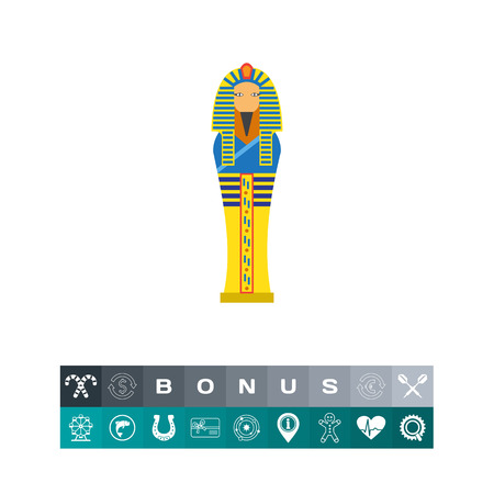 A cartoon illustration of Egyptian pharaoh sarcophagus icon, isolated on white. Illustration