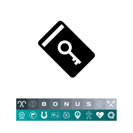 keycard: Electronic key card icon, a silhouette design illustration, isolated