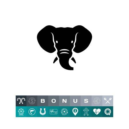 象頭のアイコン、動物の黒いシルエット デザイン