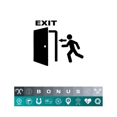 Nooduitgang eenvoudig pictogram in silhouetillustratie, een persoon die uit aan de deuropening loopt. Stock Illustratie