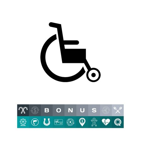 invalid: Empty Wheelchair Icon, a silhouette single sign for  handicapped support concept.