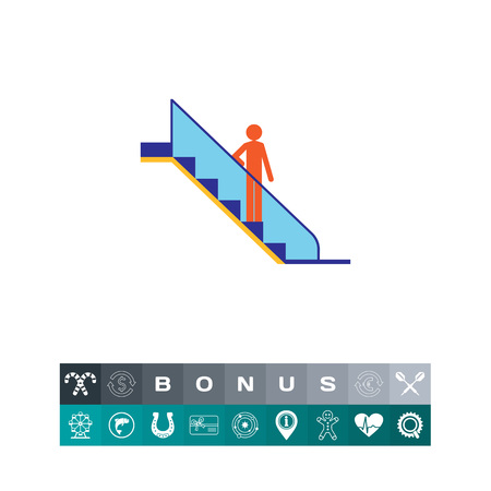 Escalator icon with a person standing, a silhouette illustrating a moving staircase.