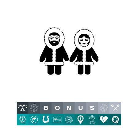 fur hood: Eskimo couple simple icon wearing winter clothes coat with hood for cold protection, isolated on white