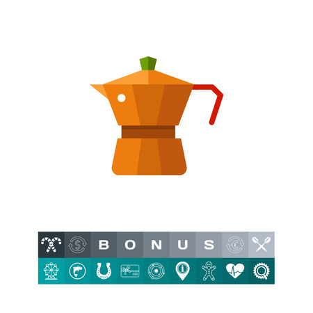 에스프레소 커피 메이커 아이콘, 화이트 절연 다채로운 그림에서 부엌 작은 기기.