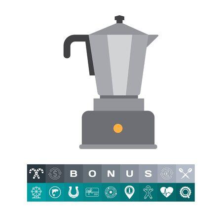 에스프레소 커피 메이커 아이콘, 흰색으로 격리하는 전기 주방기구.