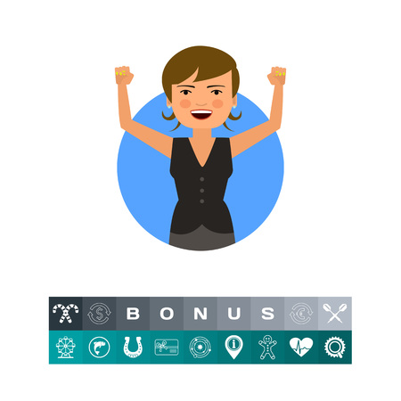 Excited businesswoman with hands up gestures on a circular background.