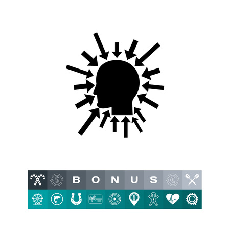 chief executive officer: Profiles head with arrows sign for brainstorming concept as Executive Manager Icon, in black silhouette illustration. Illustration