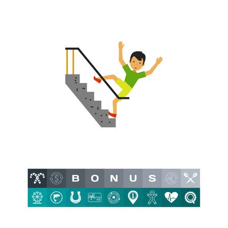 Illustration de l'homme peur de tomber dans les escaliers. Accident, blessure, accident. Falling down notion escaliers. Peut être utilisé pour des sujets tels que la victime, d'un accident, la sécurité