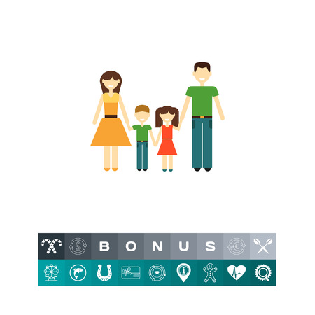 simple girl: Family with two children Illustration