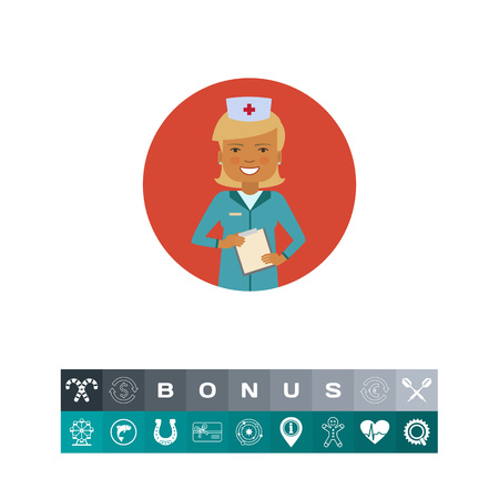 Female character, portrait of smiling doctor holding clipboard Illustration