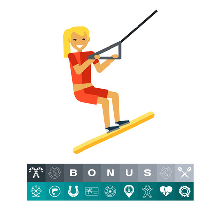 Multicolored vector icon of female character water skiing