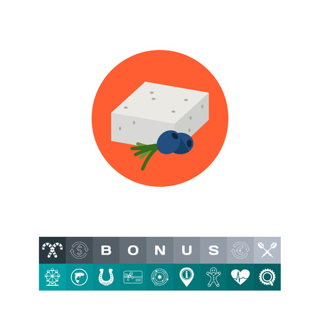 Multicolored vector icon of traditional Greek feta cheese served with black olives
