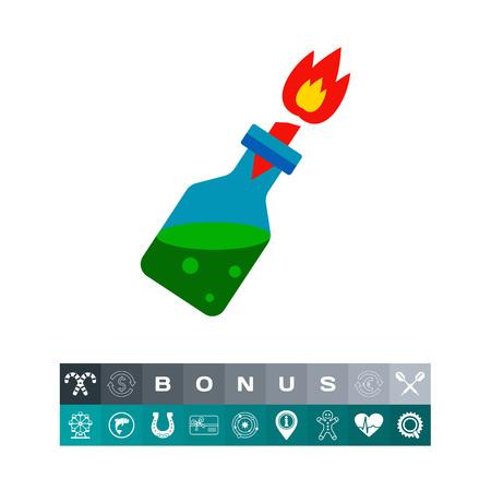 cóctel molotov con la quema de mecha. Disturbios, peligro, explosión. coctel concepto fuego. Puede ser utilizado para temas como armas, la violencia, el terrorismo. Vectores