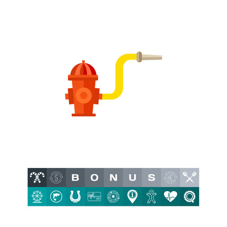 Fireplug with hose and nozzle. Safety, street, emergency. Firefighting concept. Can be used for topics like firefighting, marketing, rescue service.
