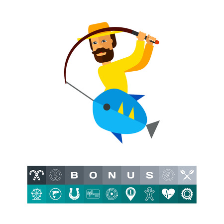Illustration of fisherman pulling fishing rod with fish. Fishing, leisure activity, hobby, weekend. Fishing concept. Can be used for topics like hobby, fishing, summer time illustration.