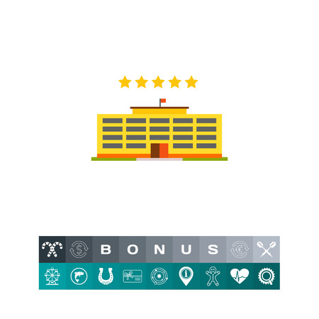 Multicolored vector icon of yellow hotel building and five stars illustration.