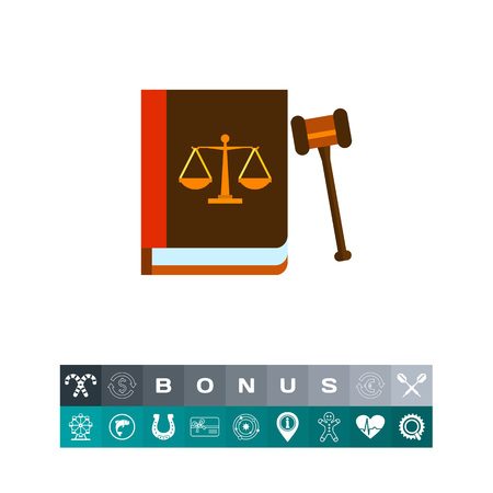 punish: Gavel and Book as Law Concept Icon
