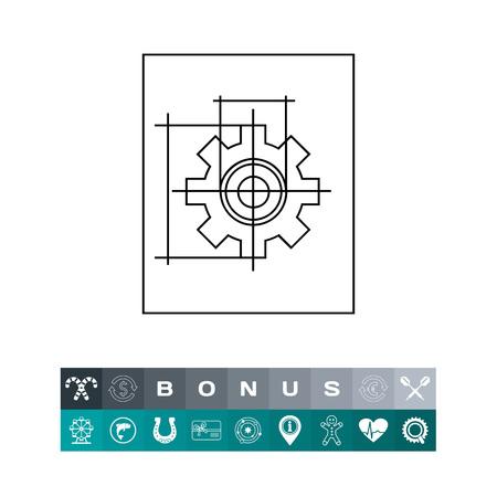 Gear Wheel Drawing Icon