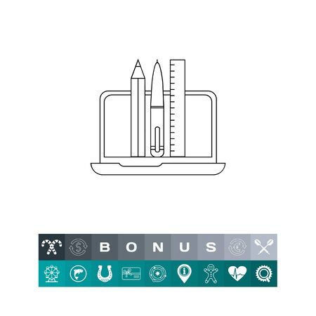 writing on screen: Graphic Designer Tools Line Icon