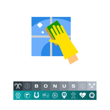 wiping: Hand in Glove Cleaning Tile Icon Illustration