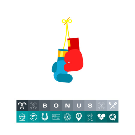 Hanging red and blue boxing gloves. Punching, fist, fight. Boxing concept. Can be used for topics like sport, health, boxing. Illustration
