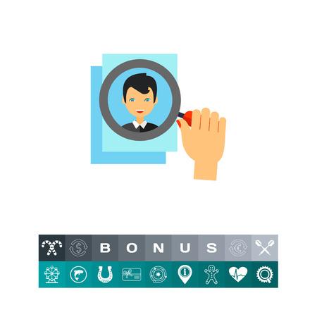 Menselijke hand met vergrootglas op de foto van de aanvrager. CV, zoeken, spullen. Hoofd jagen concept. Kan gebruikt worden voor onderwerpen zoals het bedrijfsleven, management, werving, personeel.