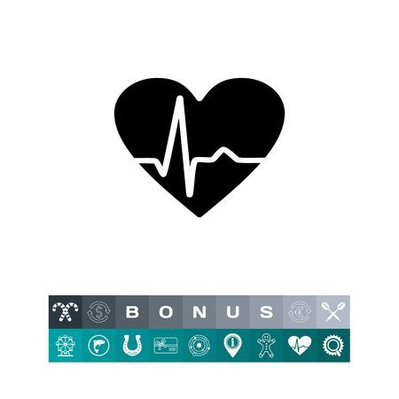 heart disease: Heartbeat Rate Icon Illustration
