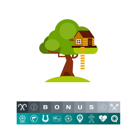 House on Tree for Kids Icon Illustration