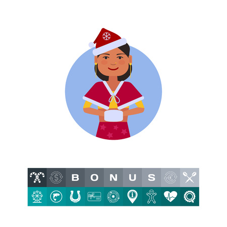 Female character, portrait of Indian teenage girl in Santa costume with muff Illustration