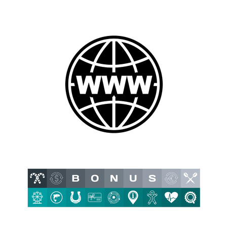 Monochrome vector icon of globe with parallels and meridians and letters www, representing internet concept Illustration