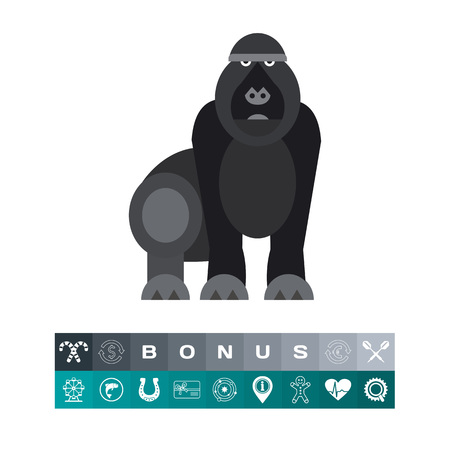 primate biology: Gorilla. Animal, strong, forest. Monkey concept. Can be used for topics like zoology, biology, environment.